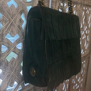 Tory Burch suede green fringe bag